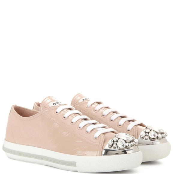 237bfab1e465 Miu Miu Crystal Embellished Sneakers. M 5b858ac4de6f62d0c9aa14f1